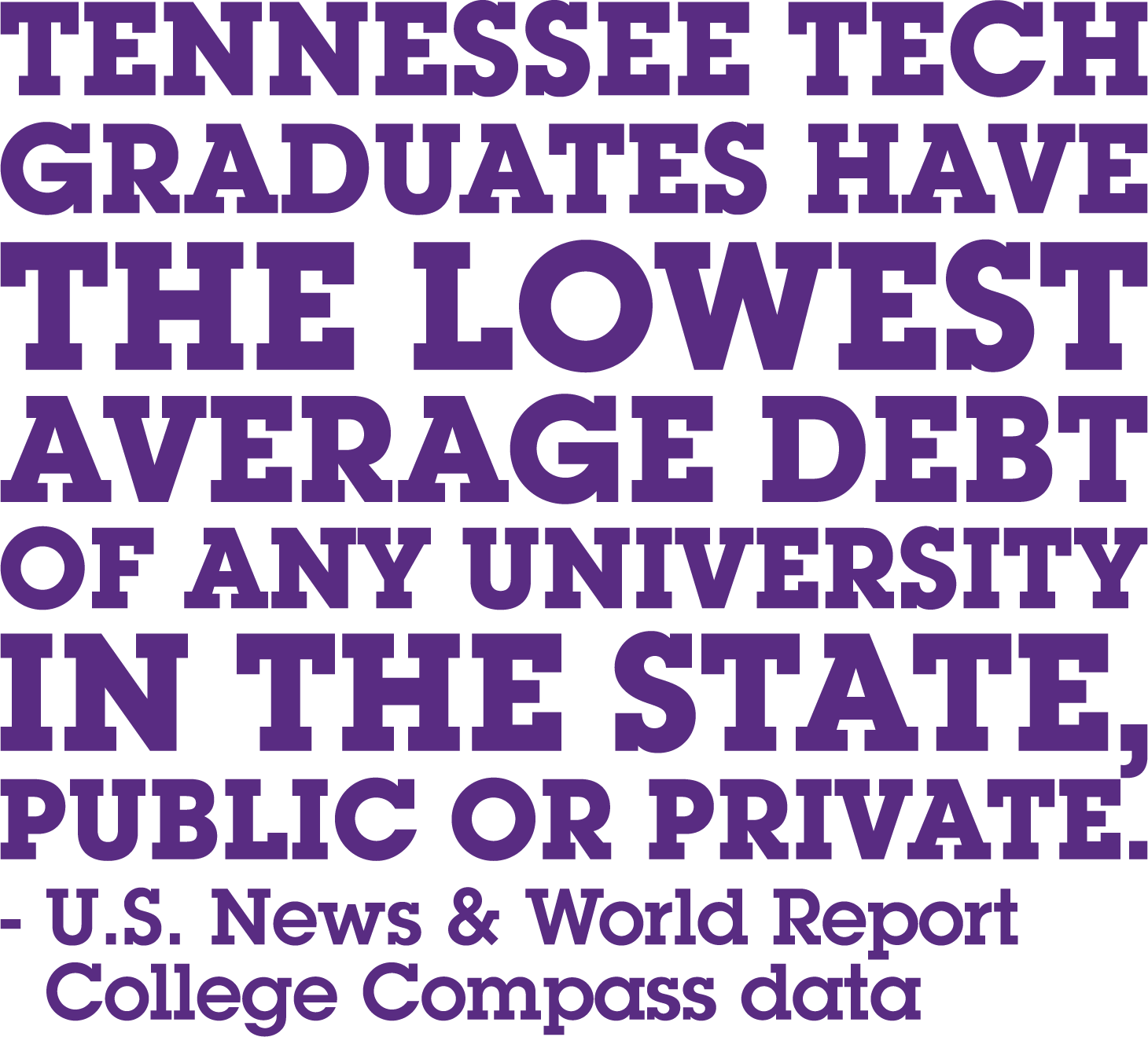 Tennessee Tech graduates have the lowerst average debt of any university in the state, public or private. - US News & World Report - College Compass Data