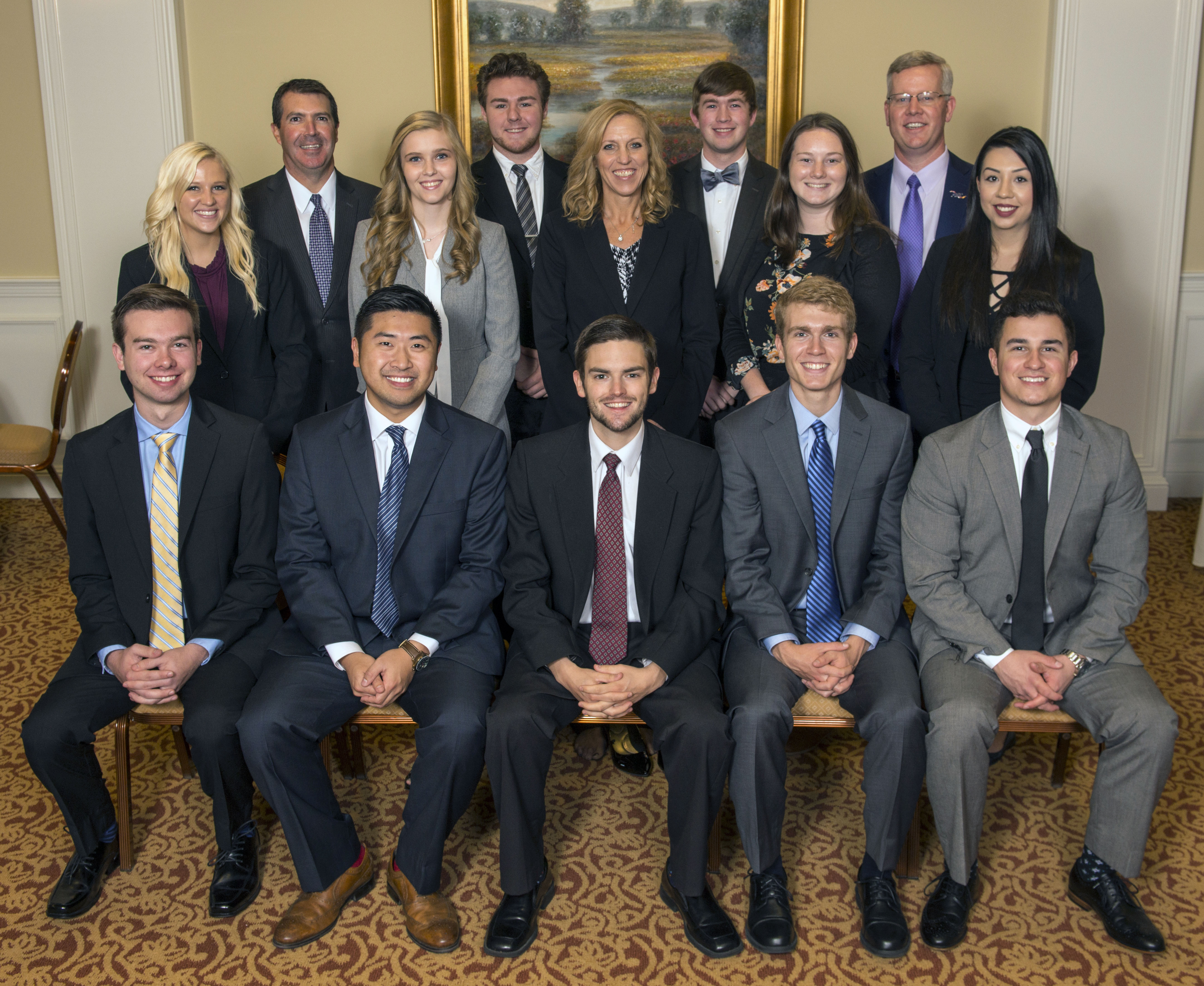American Bank & Trust of the Cumberlands partnered with the Tennessee Tech College of Business to form a Student Advisory Board for the bank. The 12 students selected by competitive process for the board, along with AB&T executives, are: (front row, left-to-right) Joshua Hitchcock, Raymond Chan, Chase Womble, Nathan Olmstead, Brady Morgan (back row, left-to-right) Molly Williams, Marty Maynord of AB&T, Serena Campeau, Maverick Melton, Wendi Wheeler, Jonathan Terry, Victoria Chaplin, Ryan Smith of AB&T, and Jessica Miranda.