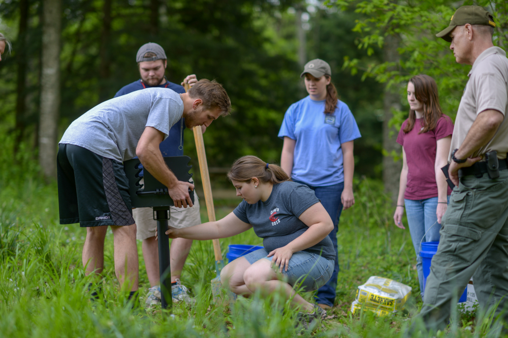 Students work on a project at Cummins Falls State Park