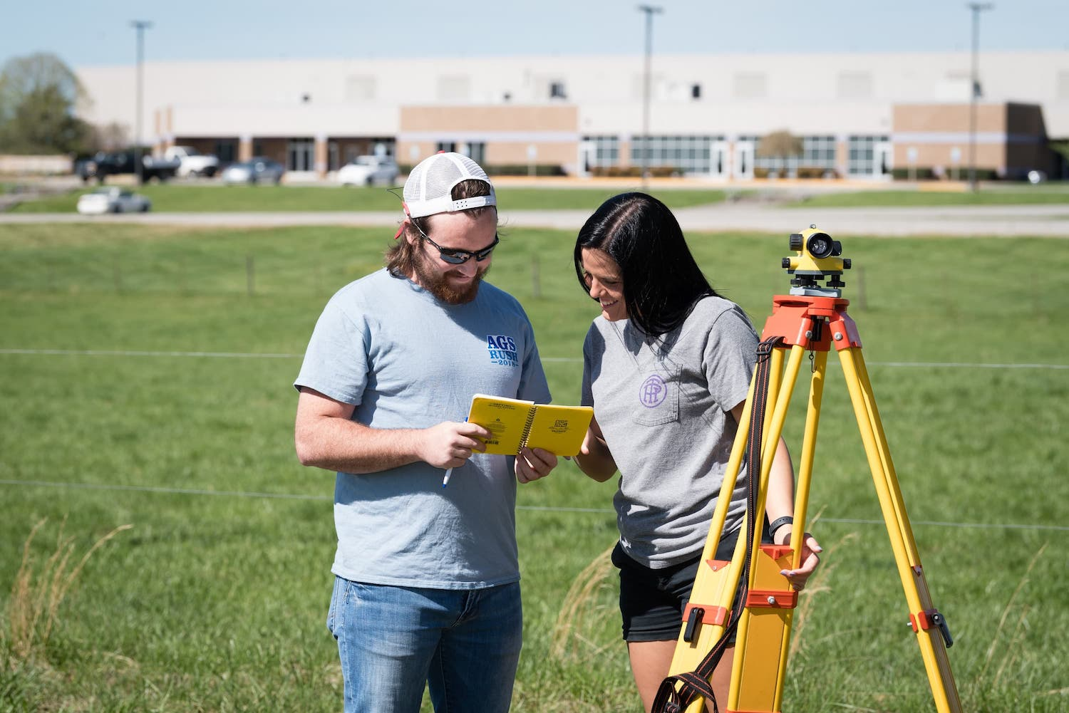 Students practice surveying