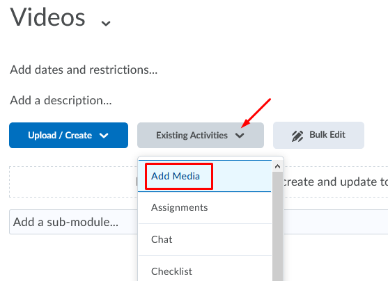 Existing Activities - Add Media