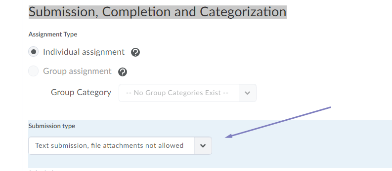 Showing the Text Submission option in the Assignment tool below Submission Completeion and Categorization
