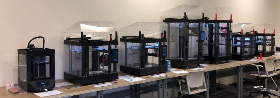 A photo of all 7 iMakerSpace 3D Printers