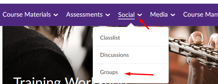 Select Social - Groups in navigation