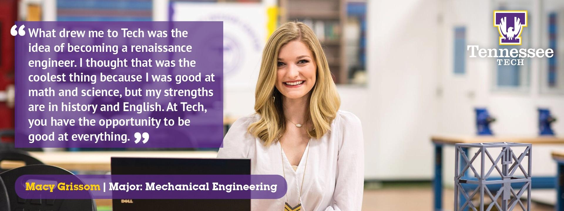 Testimonial by Macy Grissom, Mechanical Engineering
