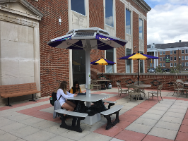 a solar table on the South Patio of the U.C.