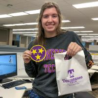 Student on Purple Pride Friday