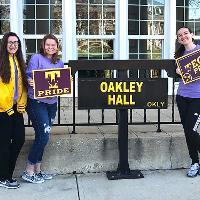 Student on Purple Pride Friday