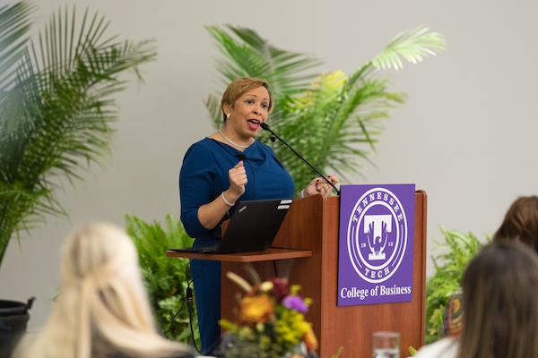 2019 women's conference, speaker talking to attendees