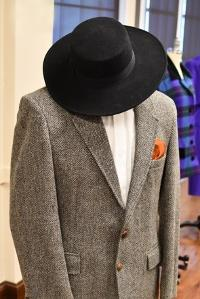 From Historic Costume Collection, Late 1980s Two Button Blazer with Flat Brim Fedora