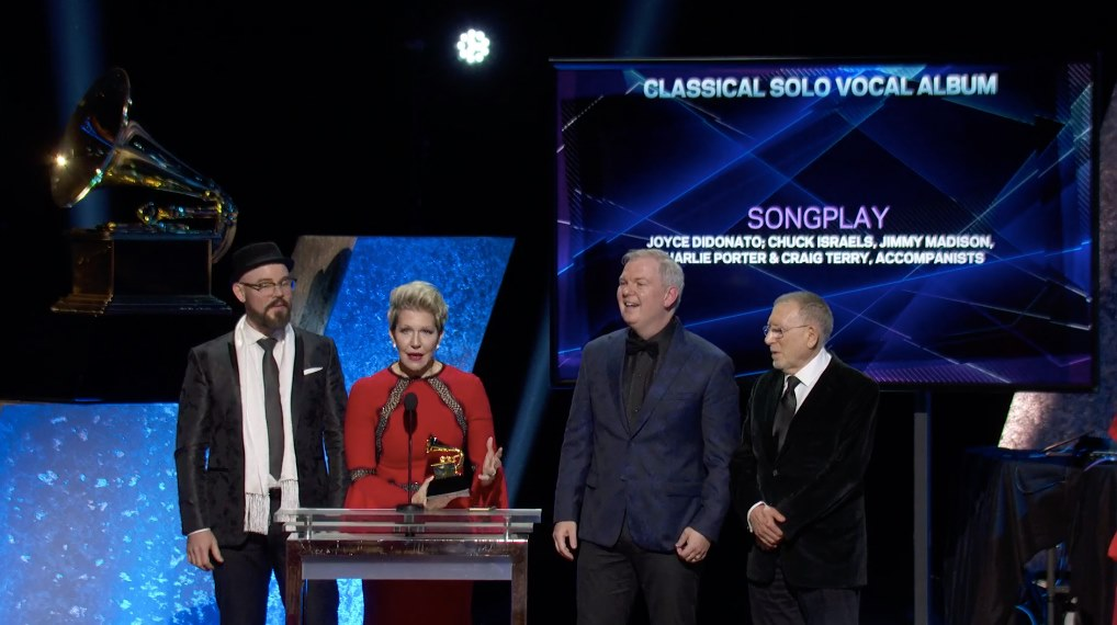Tech alumnus Craig Terry, second from right, listens to Joyce DiDonato, on stage during the Grammy Awards handed out Jan. 26.