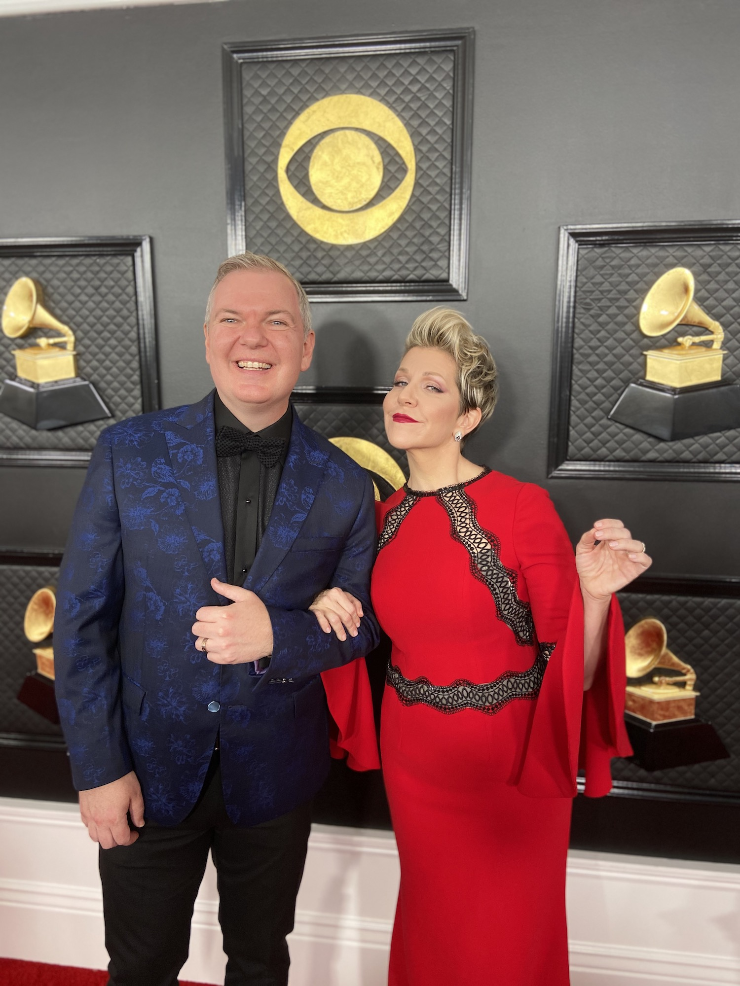Craig Terry, left, and opera singer Joyce DiDonato smile for the cameras prior to the Grammy Awards Jan. 26 in Los Angeles.