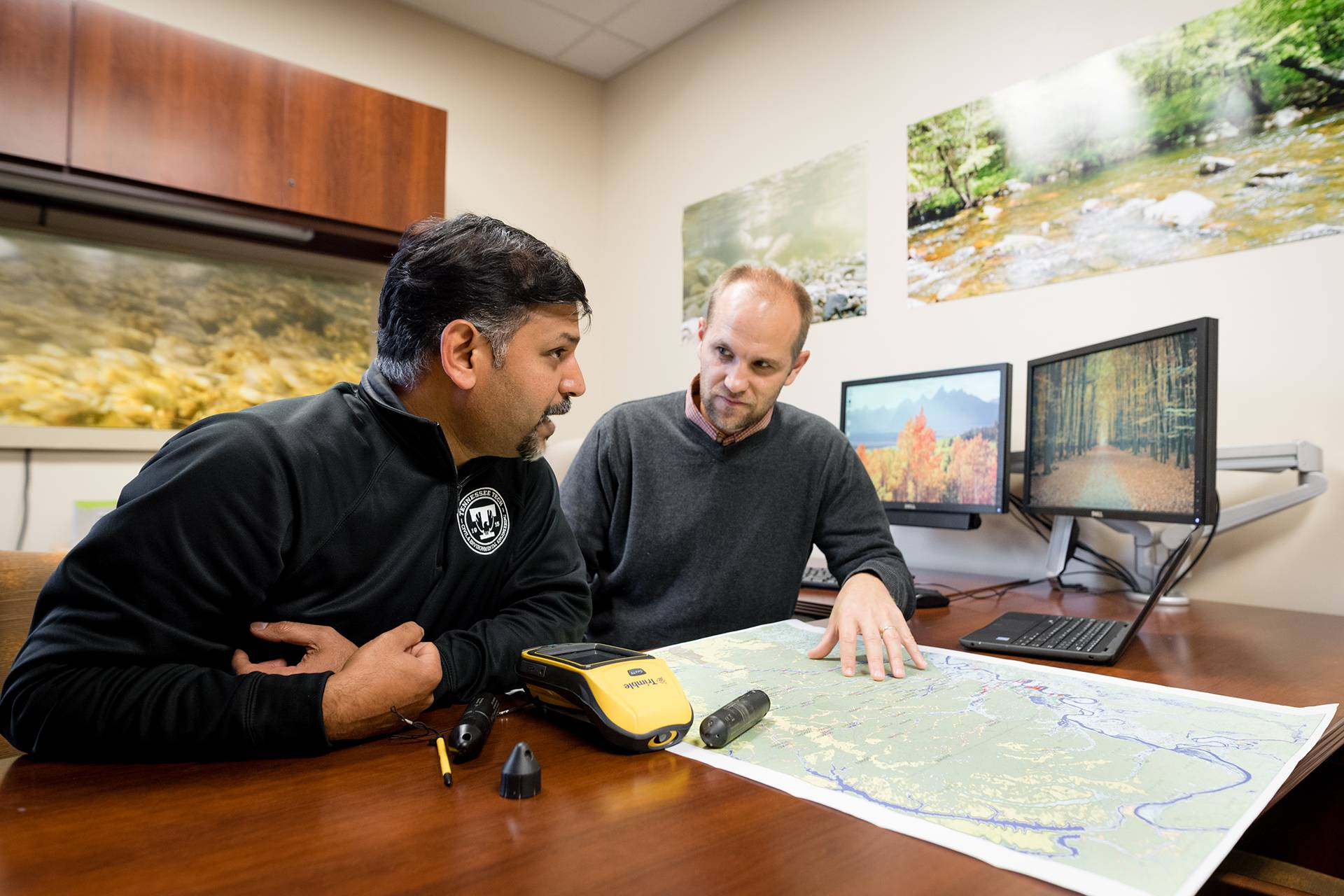 Justin Murdock (right) and Alfred Kalyanapu will lead Tech's team evaluating wetlands enrolled in the USDA Wetlands Reserve Program.