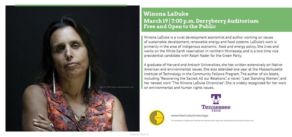 Winona LaDuke, Guest Speaker during Women's History Month