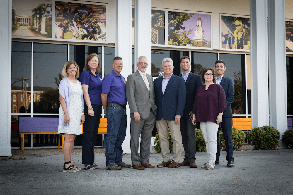 Becky Magura, Julie Galloway, Randy Keifer, President Philip Oldham, Randy Wilmore, Brandon Boyd, Bedelia Russell, and Brent Waugh