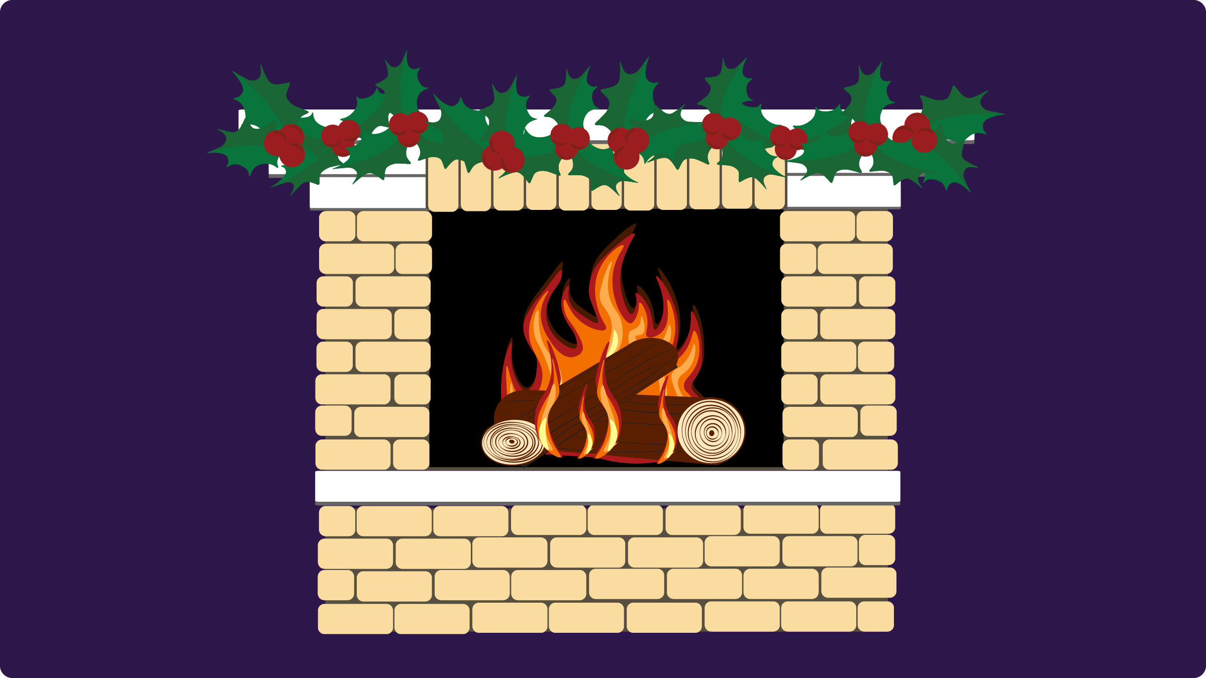 A vector image of a fireplace with a roaring fire and holly on the mantle.
