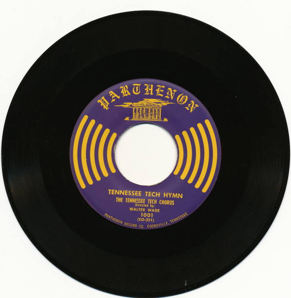 An image of a 45 rpm record of the Tech Hymn made by Parthenon Records.