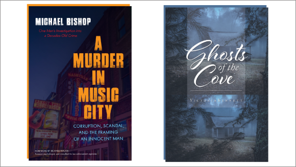 The covers of the novels A Murder in Music City and Ghosts of the Cove.