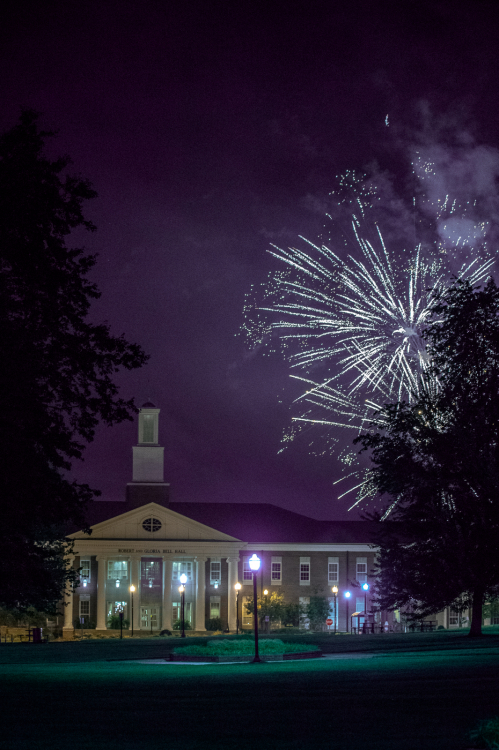 Fireworks over Bell Hall