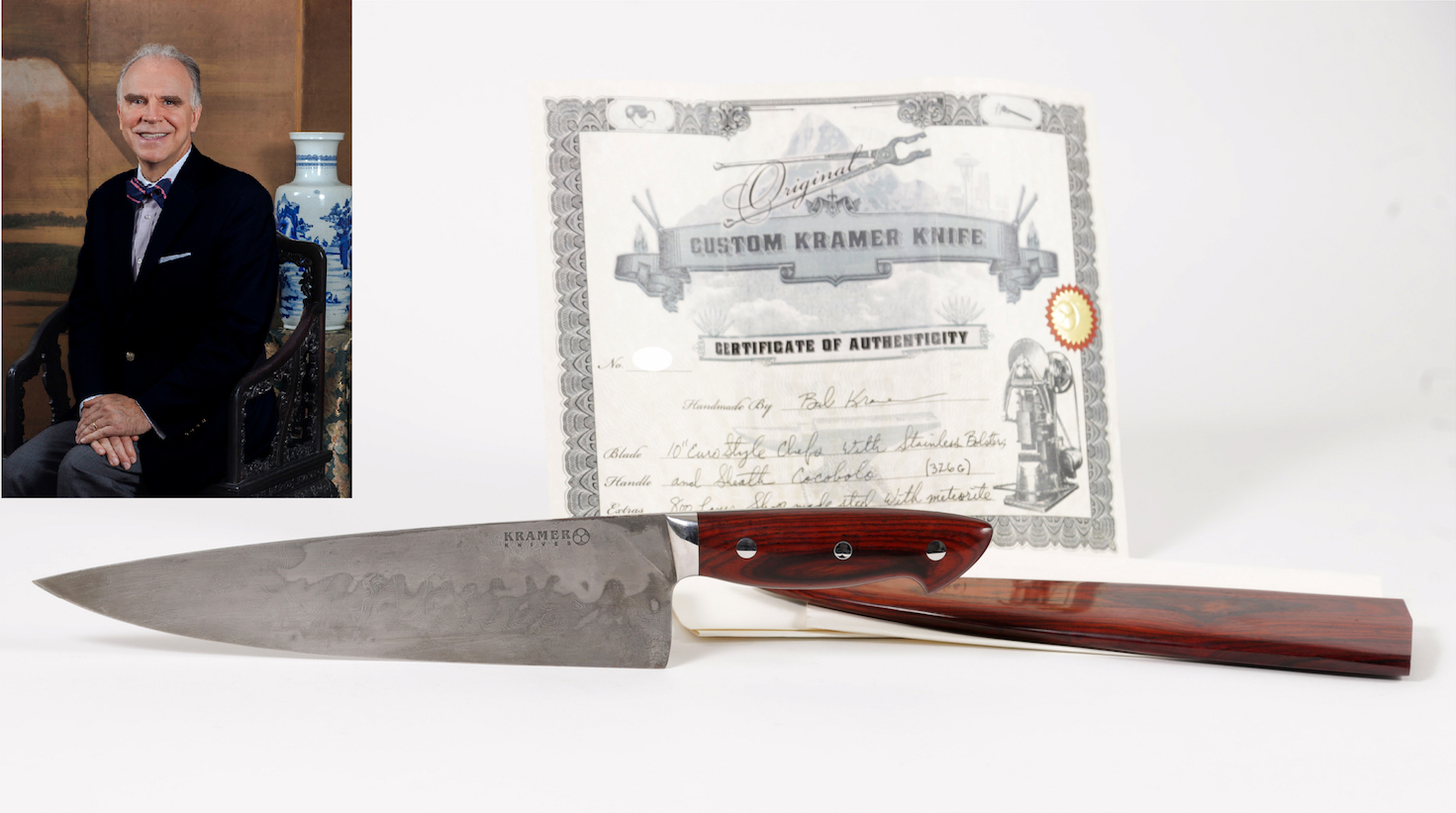 A photo of Anthony Bourdain's meteroite knife and its certificate of authenticity with an inset of Lark Mason sitting in an antique chair with an Asian vase behind him and other antique items in the background.