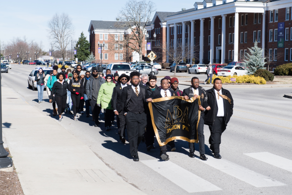 Omicron Phi marches in honor of Martin Luther King