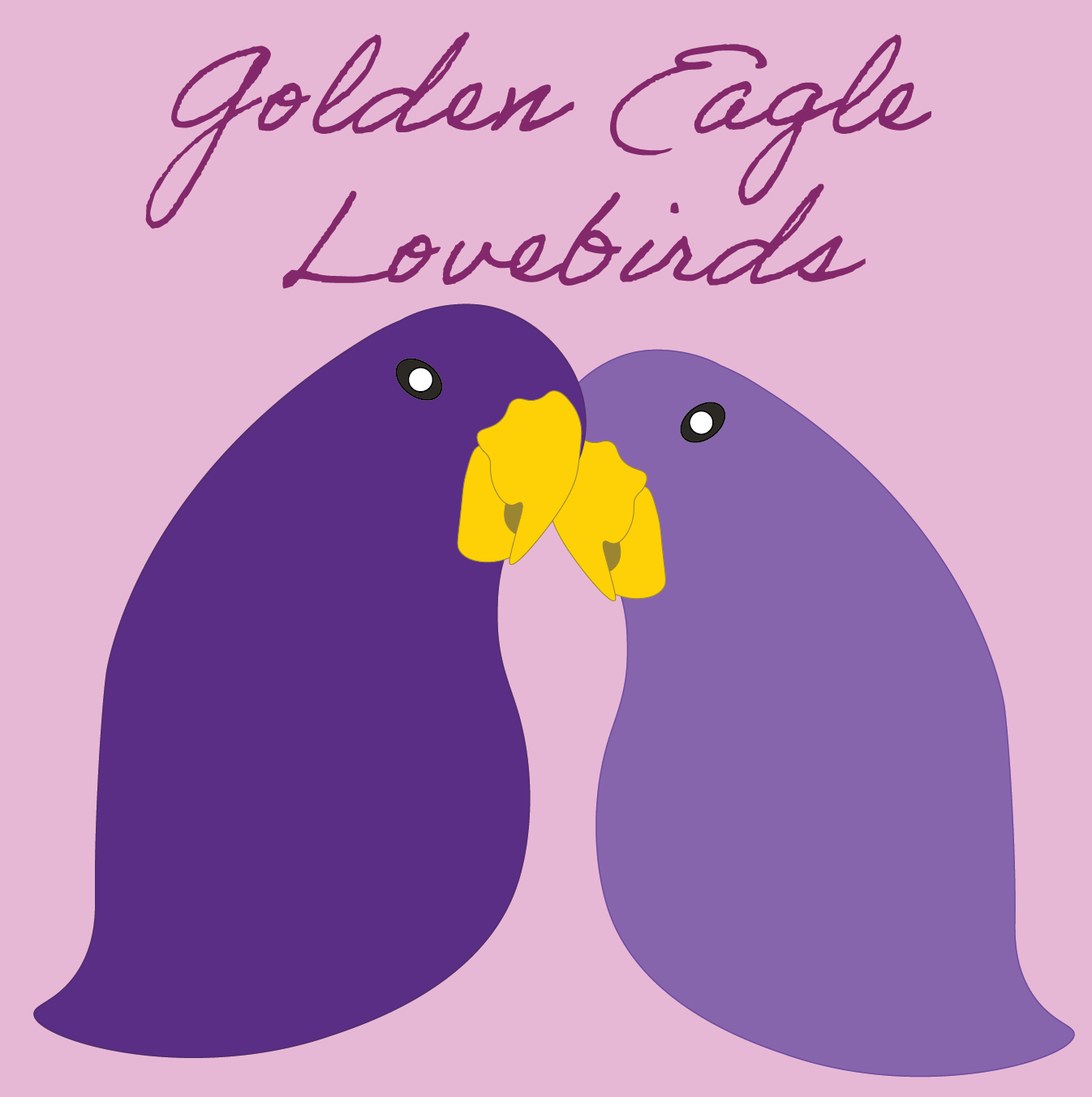 Two puple lovebirds have their heads together - Golden Eagle Lovebirds
