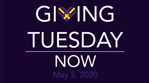"Dark purple graphic with white font reading Giving Tuesday Now. The ""v"" in giving is a purple and yellow heart - the Giving Tuesday logo. At the bottom in purple font, it reads May 5, 2020."