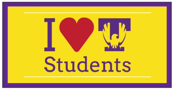 yellow graphic with a purple border, purple font, and a read heart - I Heart Tech Students