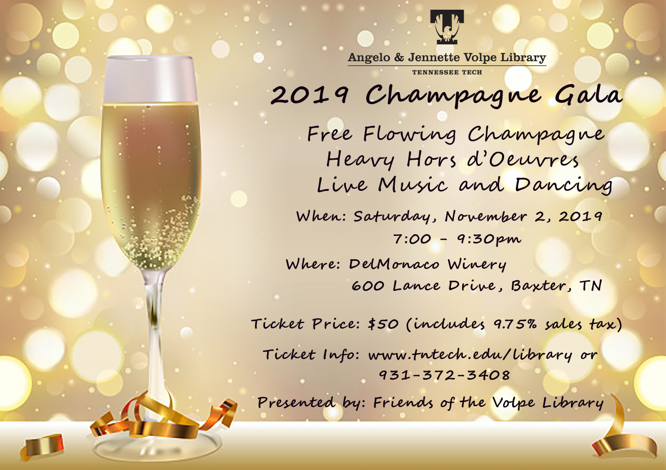 2019 Champagne Gala for the Friends of the Library - November 2 from 7-9:30 at DelMonaco Winery. Ticket Price is $50 including tax