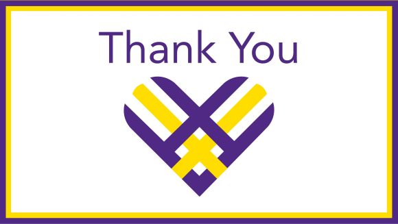 "The words ""Thank You"" with a yellow and purple heart beneath it."