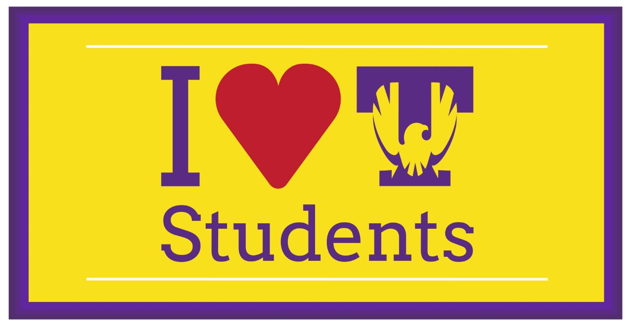 "A yellow graphic with a purple border that reads ""I Heart Tech Students"""