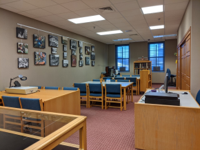 A photo of the archives space with tables and chairs