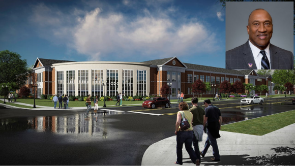 An artist's rendering of the facade of the new fitness center and an inset portrait of Marc Burnett