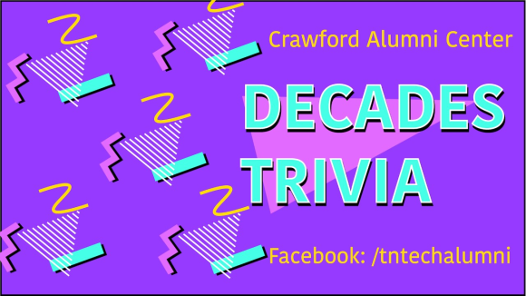 "A bright purplegraphic with 90s design elements. There is a repeating motif of a triangle made of white lines, a yellow squiggle, a pink zig-zag, and a turquoise bar. The graphic reads ""Crawford Alumni Center Decades Trivia; Facebook /tntechalumni"""