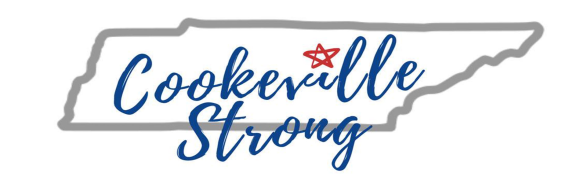 "The words ""Cookeville Strong"" in an outline of the state of Tennessee."