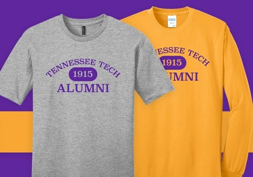 A gray and yellow t-shirt with Tennessee Tech 1915 Alumni on the fronts in purple.