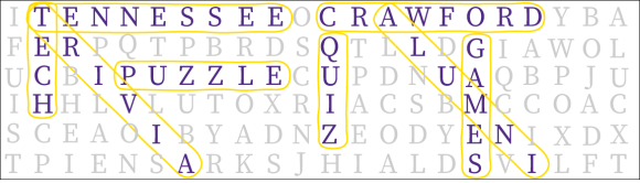 A graphic that is made to look like a word find. The words Tennesee, Tech, Trivia, Puzzle, Crawford, Quiz, Games, and Alumni are circled.