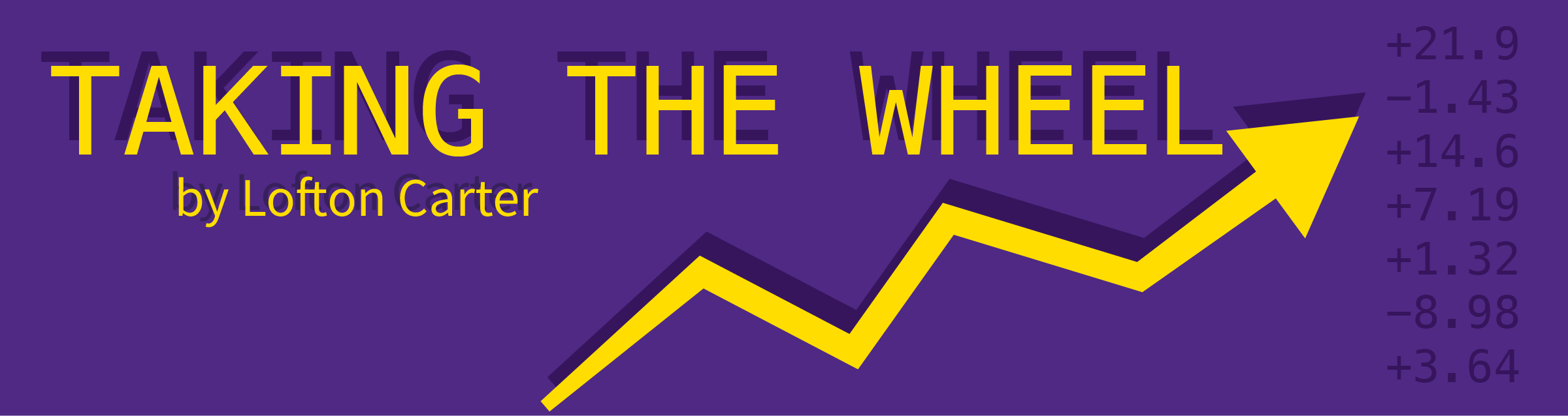 "A purple graphic with a stock indicator that reads ""Taking the Wheel by Lofton Carter"""